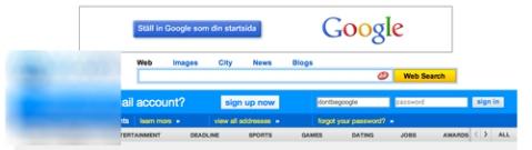 Google uppmanar dig att ställa in deras sökmotor som startsida